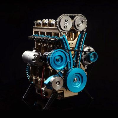 Moteur 4 cylindres à construire (tout en métal - 357 pièces)